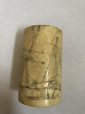 Genuine Antique Cut Down Whale Tooth scrimshaw  With 2 different Sailing Ships