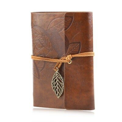 Notebook Diary String Leaf Travel Faux Leather Paper Journal Book