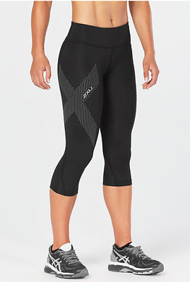 2XU Women's Mid-rise Compression 3/4 Tights - Black/Dotted Reflective - SMALL