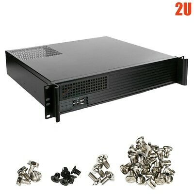 "2U Rack Mount Micro ATX Mini ITX Chassis Case HDD 5.25"" 3.5"" Drive Bay USB Ports"