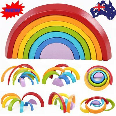 Kids Children 7 Color Wooden Rainbow Stacking Building Blocks Educational Toy VJ