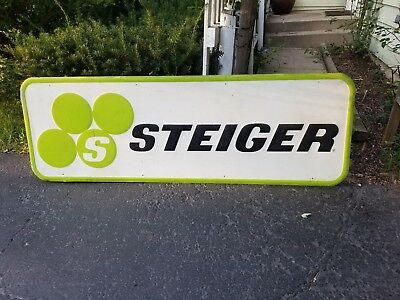 RARE Steiger 4WD Tractor Embossed Metal Dealer Sign Farm Versatile Ford Case IH