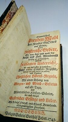 1743 German 18th Century Religious BOOK with Engravings RARE Antique
