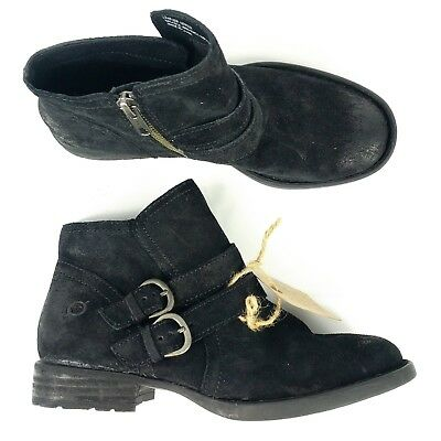 8f5946cbf3a Born Womens Booties Size 5.5 M Pirlo Black Distressed Suede Buckle Zip Ankle