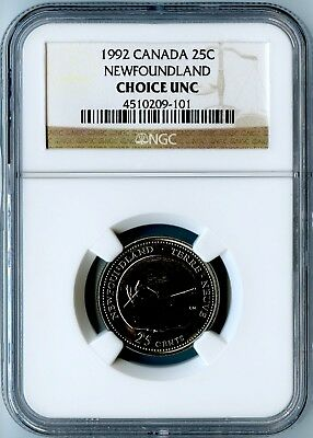 1992 Canada Ngc Choice Uncirculated Newfoundland Quarter 25C! Low Mintage!