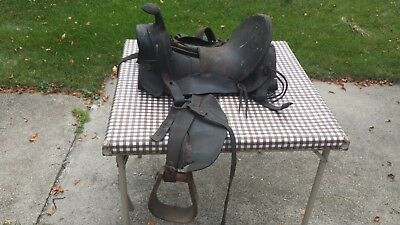 Antique Vintage Western Old West Cowboy Horse Saddle Stamped Maker Smaller Size?