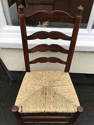 Very Old Ladderback Rush Seat Dining Chair