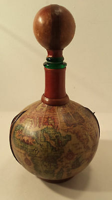 Vintage Paper Leather & Wood Globe Wine Decanter