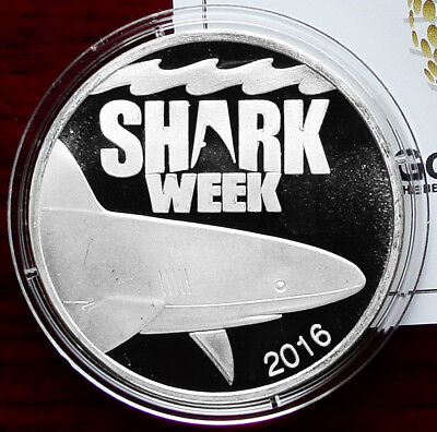 2016 Discovery Channel Shark Week Proof 1 oz .999 Silver Coin w/CoA