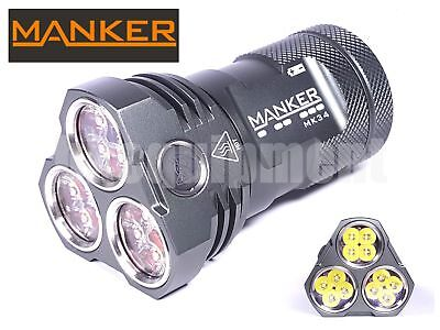 MANKER MK34 12x Cree XP-G3 8000lm CW LED Torch+Pouch+3x 18650+Charger