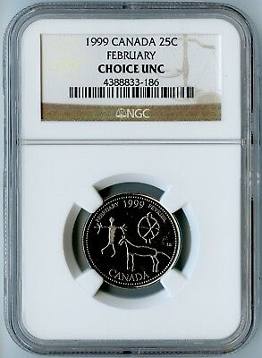 1999 Canada Ngc Choice Uncirculated February Quarter 25C!