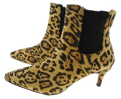 4d94e640ec2a HIGH STREET Leopard Print Pointed Toe Kitten Heel Chelsea Ankle Boot UK 3  to 8