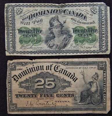 1870 & 1900 Dominion Of Canada 25 Cent Fractional Notes - Lot Of 2 - Circulated