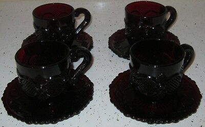 8pc AVON Cape Cod Ruby Red Glassware 4 Coffee or Tea Cups and 4 Saucer Plates