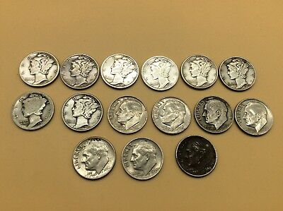 Lot of 15 USA Silver coins Mercury and Roosevelt