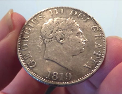 1819 George 111 Silver Half Crown in Fine Condition