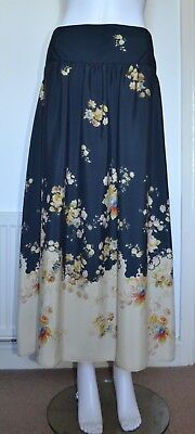 Really Pretty Navy Blue with Floral Print Long Skirt, Size 18