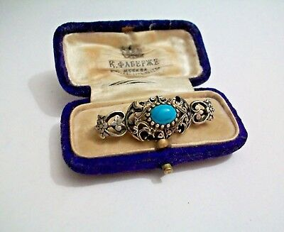 imperial Russian 84 Silver Brooch with Turquoise in box  Faberge design