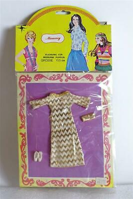 Vintage CILLY Mammy 70er Puppenkleid Doll Outfit Kleid Gold-Muster OVP sealed