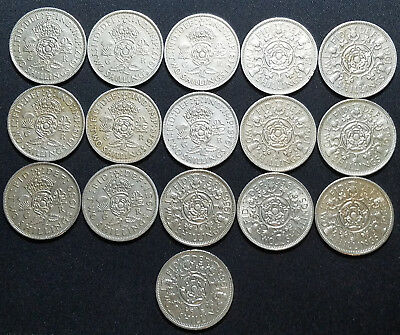 Lot Of 16 Great Britain Florin/2 Shillings Coins!