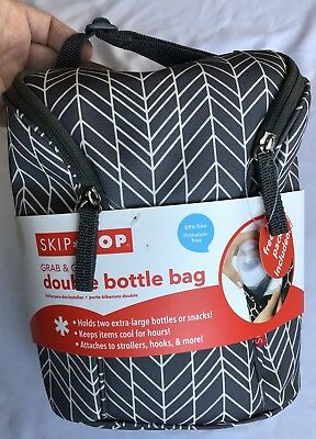 Skip Hop Insulated Breastmilk Cooler And Baby Bottle Bag Grab & Go Double Grey