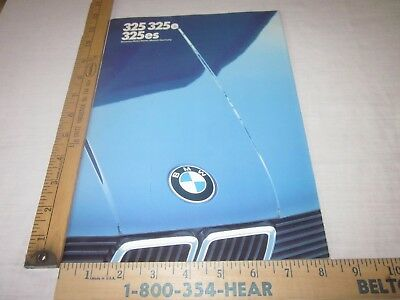 1986 BMW 325, 325e, 325es Sales Brochure