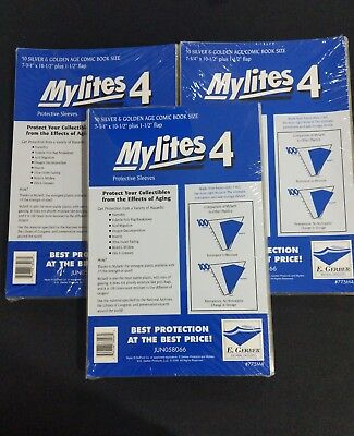 150 E. Gerber Mylites 4 Mil Mylar  Silver & Golden Age Comic Book Sleeves 775M4