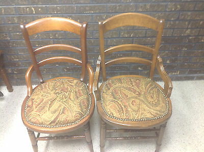 Antique Pair Of Upholstered Chairs, Nail Head, Paisley, Great Condition