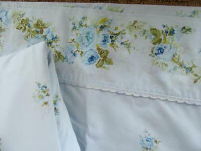 Vintage Estate! Blue Roses on Blue Embroidery Lace Full Flat & Fitted Sheet Set