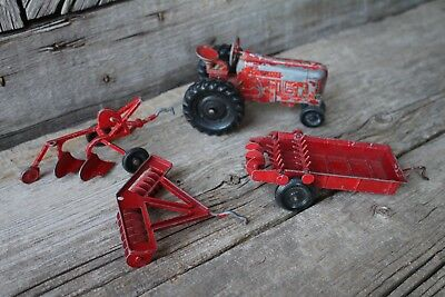 Vintage Tru-Toy Red Metal Farm Tractor Implement Manure Spreader Wagon Plow Disc