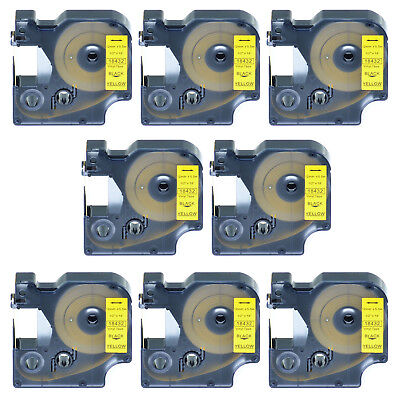 8 PK Black on Yellow VINYL LABEL 18432 for Dymo RHINO 3000 5200 3M PL200 12mm