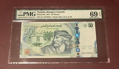 TUNISIA TUNISIE CENTRAL BANK 20 DINAR SUPERB GEM UNC PMG 69 ISSUED 2011 PICK 94a