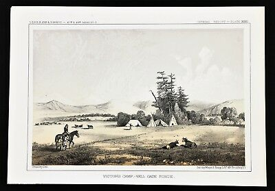 1855 Montana Victor's Camp Hell Gate Indians Lithograph PACIFIC RAILROAD SURVEY