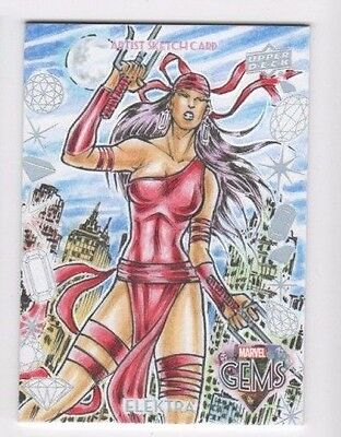 2016 Upper Deck Marvel Gems sketch GS-23 Elektra Erwin Ropa