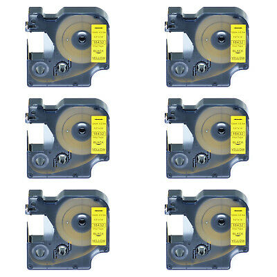 6 PK Black on Yellow VINYL LABEL 18432 for Dymo RHINO 1000 3000 5200 1/2'' 12mm