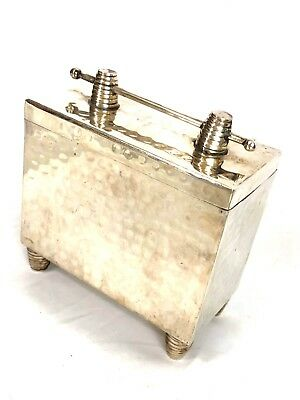 Vintage Arts Crafts Era Hand Crafted Hammered Mission Silver Plate Footed Box