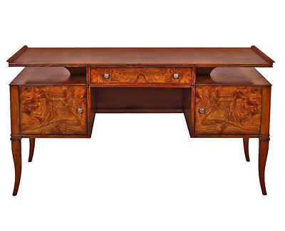 Custom James Mont Inspired French Art Deco Burled Walnut Executive Table Desk