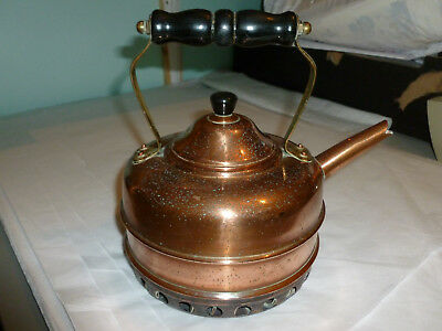 """VTG *SIMPLEX* Solid Copper Coil Base Tea Kettle 8.5"""" High to Top of Handle"""