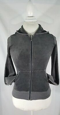 Juicy Couture for Girls who like stuff Dark Gray Velour Sparkly Hoodie Jacket S