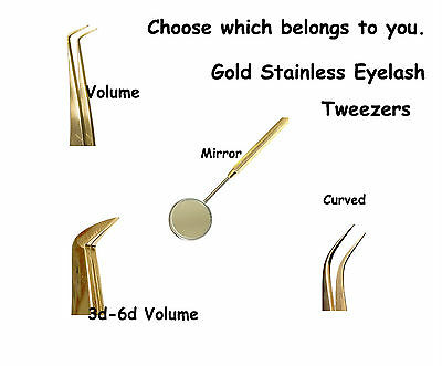 Set of Eyelash Extension Gold Stainless Tweezers Made Professional