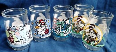 Welch's  jelly glass 5 Dr. Seuss Horton, Yertle, Cat in the Hat,  Zubble-Wump