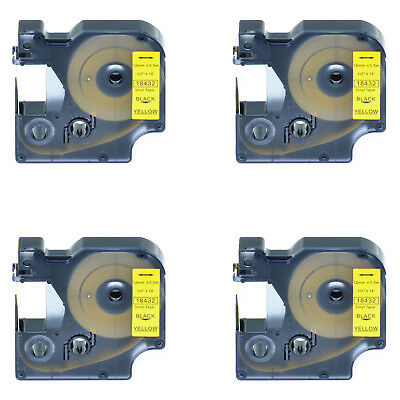 4 PK Black on Yellow VINYL LABEL 18432 for Dymo RHINO 1000 5200 6000 1/2'' 12mm