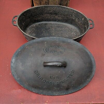 RaRe Wagner Ware No 5 Cast Iron Drip Drop Oval Roaster Sidney O VTG Pot Old USA