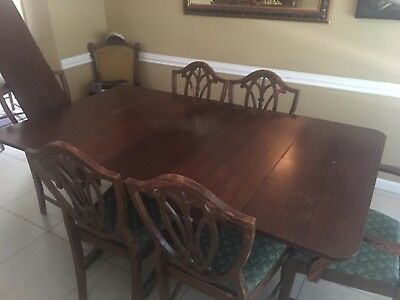 Duncan Phyfe Drop Leaf Dining Table 3 Pedestal 2 leaves and 6 matching chairs.