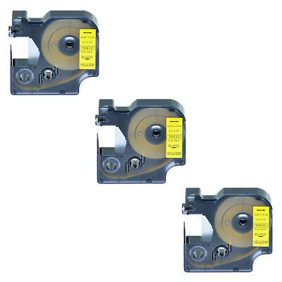 3 PK Black on Yellow VINYL LABEL 18432 for Dymo RHINO 4200 5200 6000 12mm 1/2""