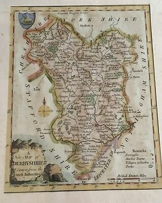 Map of DERBYSHIRE Original Antiquarian Map Published 1784 England RARE!