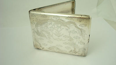 Wing On Sterling Silver Chinese Export Imperial Dragon Engraved Cigarette Case
