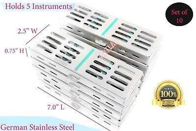 10Pcs German Stainless Sterilization Tray Cassette For 5 Instruments Green