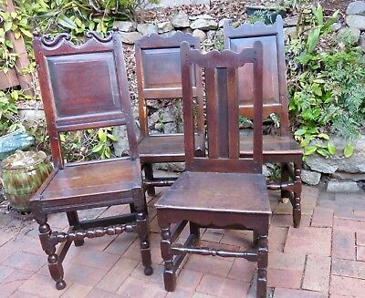 ANTIQUE HARLEQUIN SET EARLY OAK JOINED CHAIRS C1650s