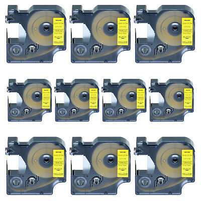 10 PK Black on Yellow VINYL LABEL 18432 for Dymo RHINO 3000 4200 5200 6000 1/2''